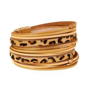 Leather and animal print bracelet